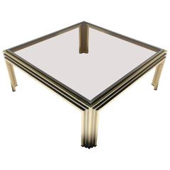 Mid-Century Coffee Table in Glass, Brass and Chrome, Romeo Rega