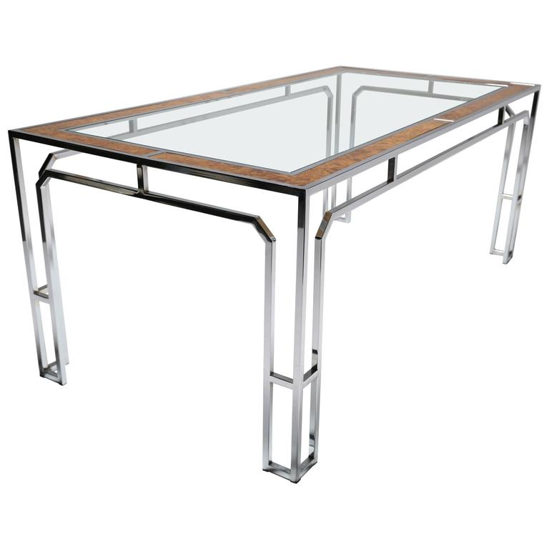 Milo Baughman style burlwood, chrome and glass dining table.
