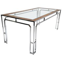 Milo Baughman style burlwood, chrome and glass dining table.