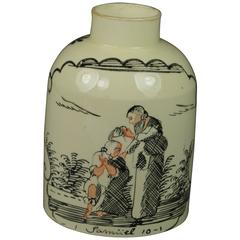 18th Century English Creamware Tea Caddy Canister With Provenance, circa 1770