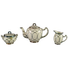 Sterling Silver Overlay Lenox Three-Piece Art Deco Tea Set