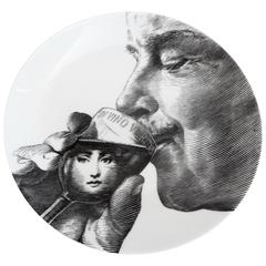 "Fornasetti Plate with Self-Portrait, ""In Vino Veritas"""