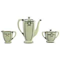 Lenox Three-Piece Tea Set with Sterling Silver Overlay