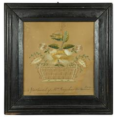 18th Century American Pin Prick Embroidery Picture on Paper, circa 1780