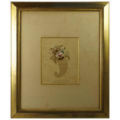 19th Century American Folk Art Needlework Pin Prick Picture by Martha Honeywell