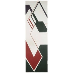 Mid-Century Geometric Abstract Painted Door Panel, Signed Karras