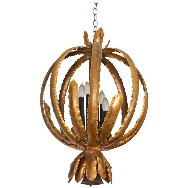 Tom Greene Brutalist Torch Cut Metal Chandelier for Feldman For Sale