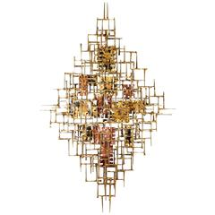 Silas Seandel Brutalist Hand-Wrought Mixed Metal Abstract Wall Sculpture