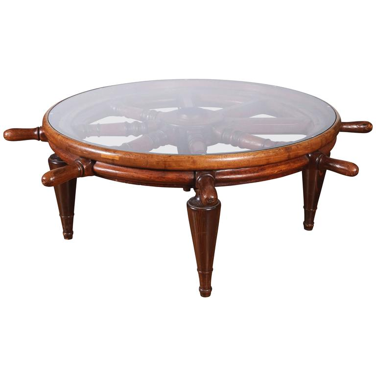 Antique ship 39 s wheel as coffee table with glass top for sale at 1stdibs Antique wheels for coffee table