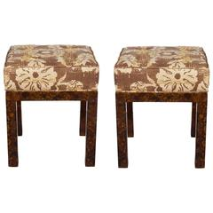 Pair of Parsons Style Faux Tortoise Shell Benches with Floral Linen Seats