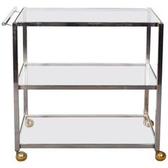Mid-Century Three-Tier Chrome Bar Cart on Brass Casters
