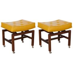 Pair of Jens Risom Walnut Benches with Gold Leather Seats