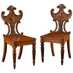 Pair of William IV Mahogany Hall Chairs