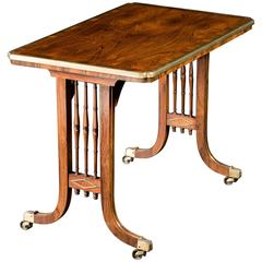 Regency Rosewood Brass-Inlaid Side Table
