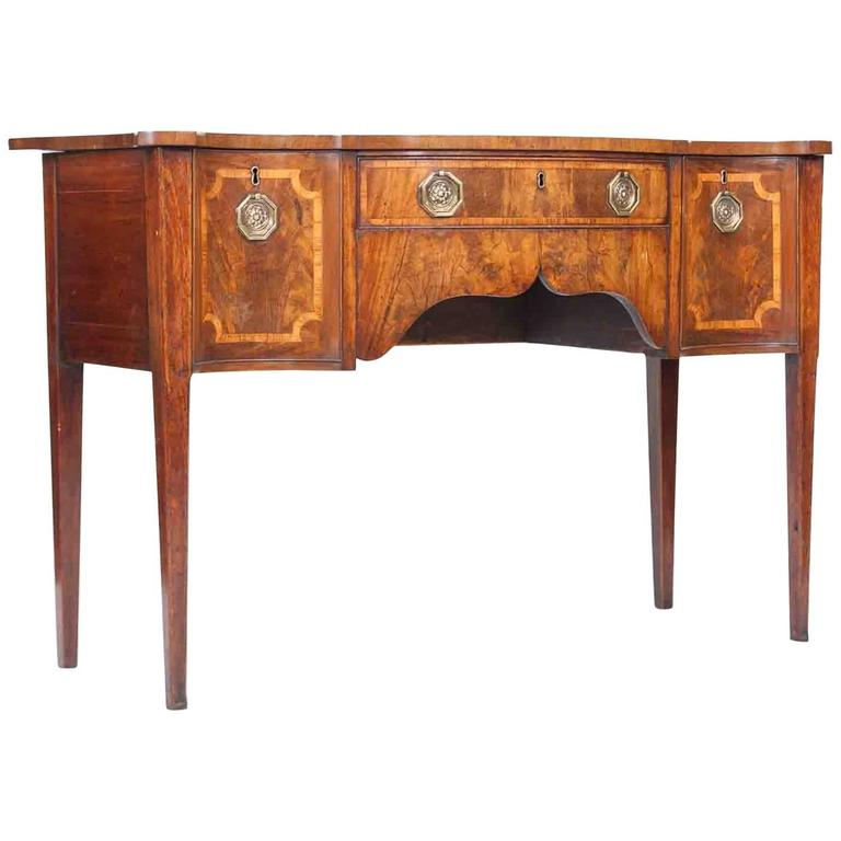 18th Century Walnut Serpentine Sideboard in the Style of Sheraton For Sale