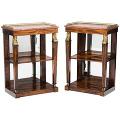 Pair of Regency Calamander Marble-Top and Mirror-Backed Open Bookcases