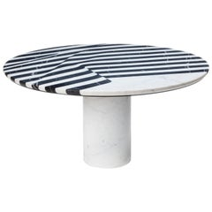 Veiled Round Coffee Table, Contemporary Inlaid Black and White Marble
