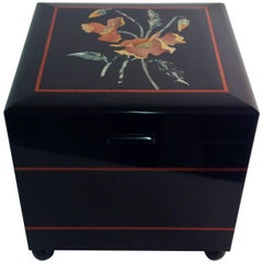 Beautiful Belgian Black Marble Floral Hinged Box, Florentine Handicraft, Italy