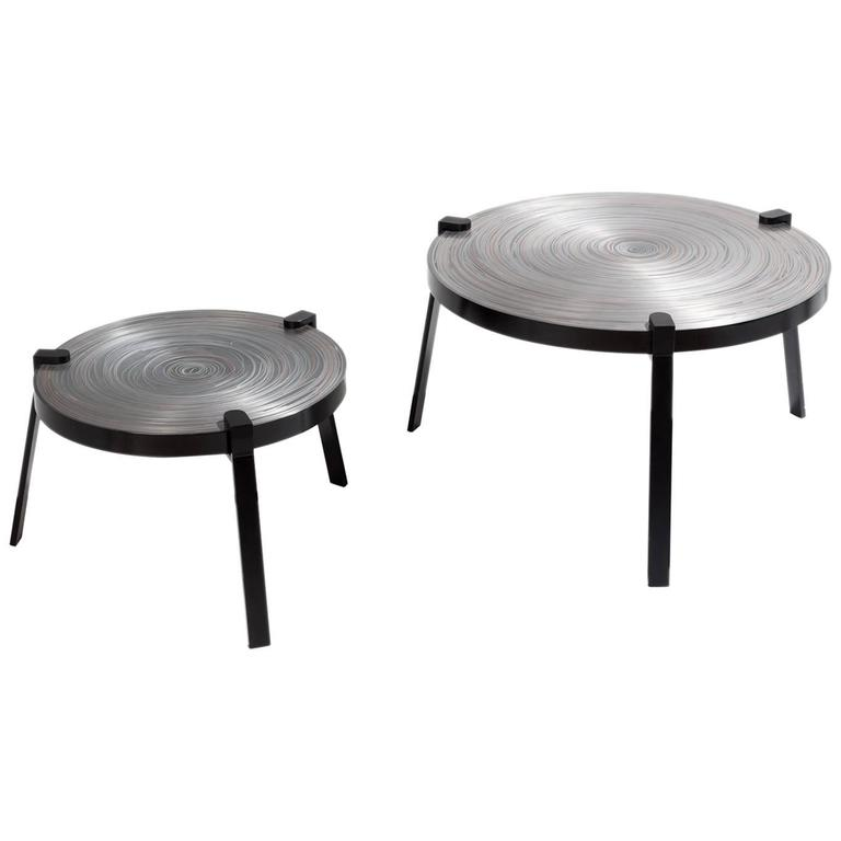 Remetaled Nesting Tables, Contemporary Set of Two Metal Tables