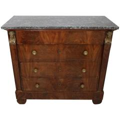 French Empire Chest of Drawers in Flame Mahogany and Marble, circa 1820s