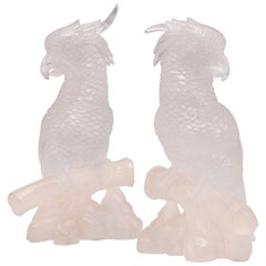 Pair of Fine Carved Rock Crystal Quartz Parrots