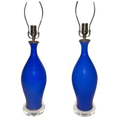 Pair of Blue Opaline Table Lamps