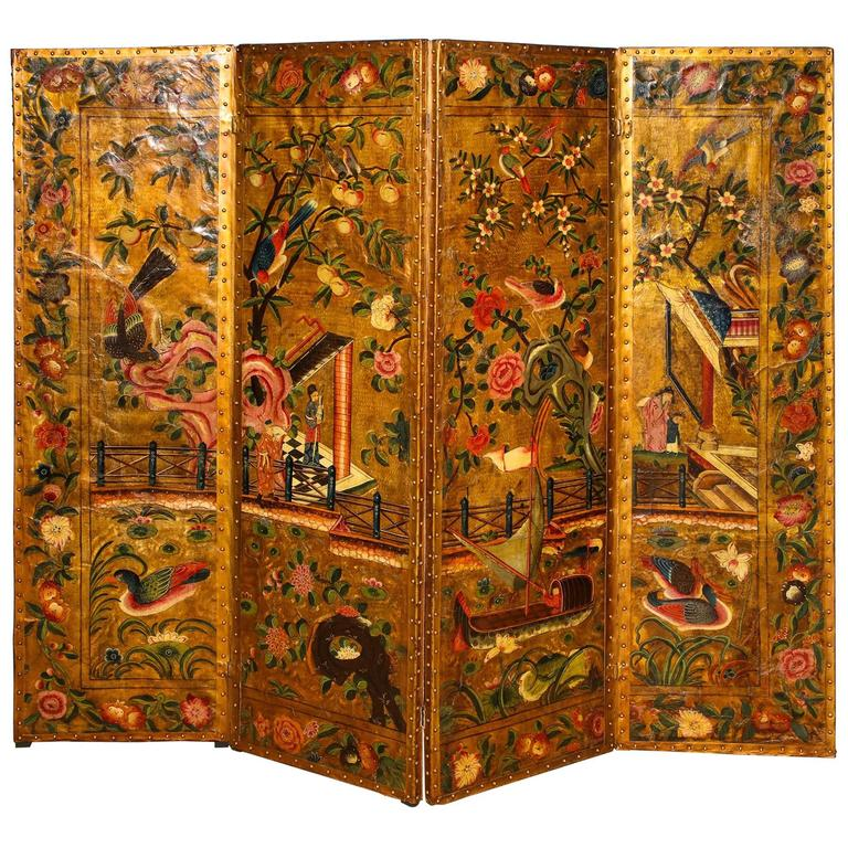 Four-Panel Chinoiserie Polychrome Painted Gilt Leather Screen English circa 1750
