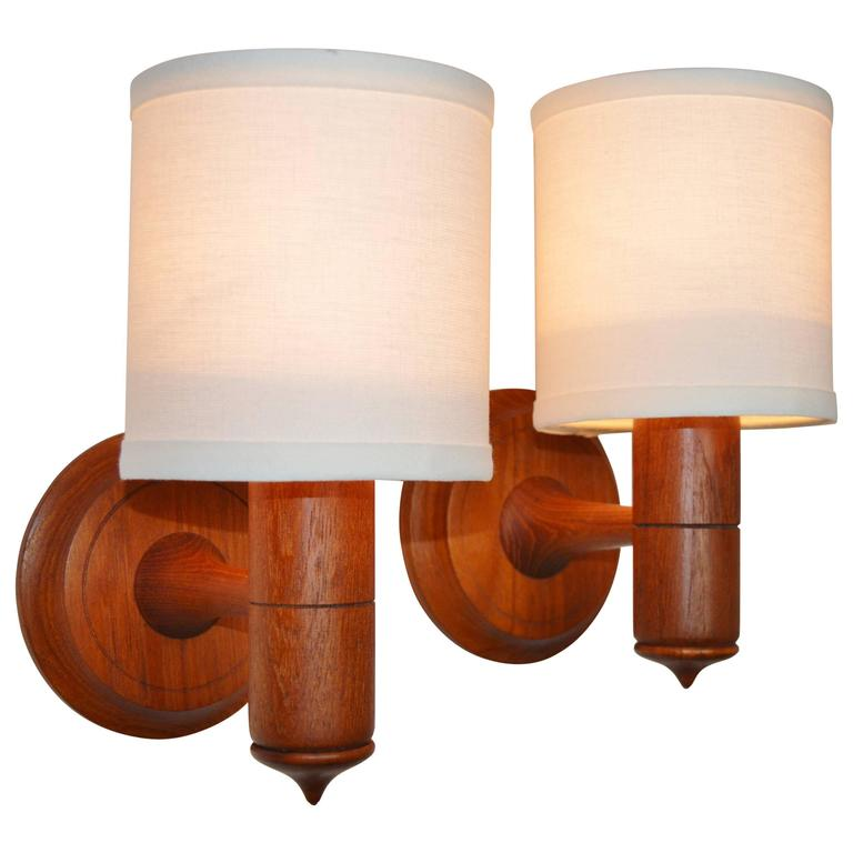 Pair of Teak Wall Mount Lights or Sconces, Danish Modern For Sale at 1stdibs