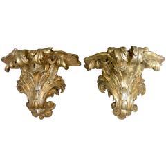 Pair of Italian Gilt-Carved Brackets