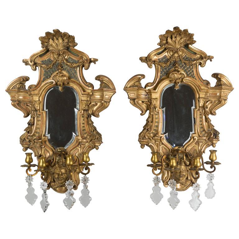 Pair of Louis XIV Style Parcel-Gilt Mirror Sconces