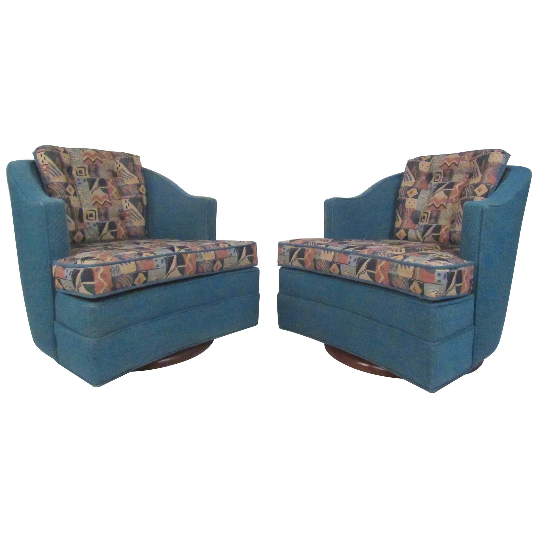 Pair of Mid-Century Modern Swivel Chairs