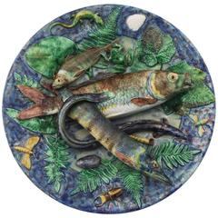 19th Century Majolica Palissy Fishs Wall Platter by Victor Barbizet