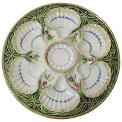 19th Century Majolica Bamboo and Berries Oyster Plate Salins
