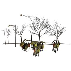 Signed Curtis Jere Rainy Day in Park Wall Sculpture