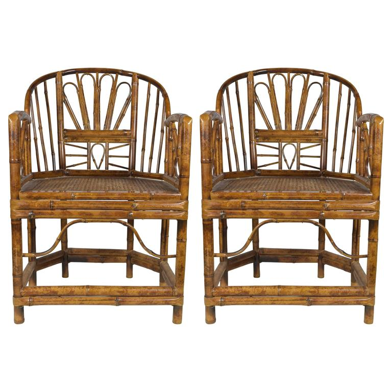 Pair Of Vintage Bamboo Chairs 1