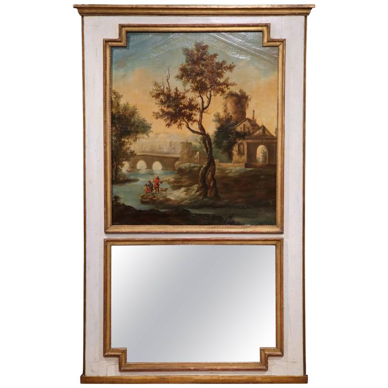 Large 18th Century French Louis XVI Painted Trumeau Mirror from Provence