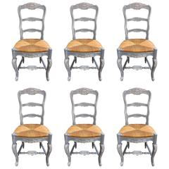 Set of Six Painted French Provençal Chairs