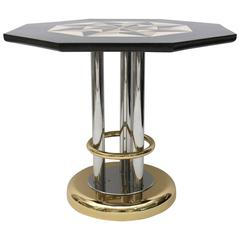 Karl Springer Round Side Table with an Octagram Star Tessellated Marble Top