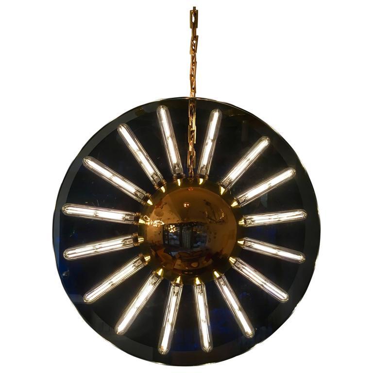1980s Italian Saturno Glass Modern Pendant For Sale