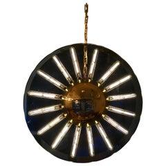 1980s Italian Saturno Glass Modern Pendant
