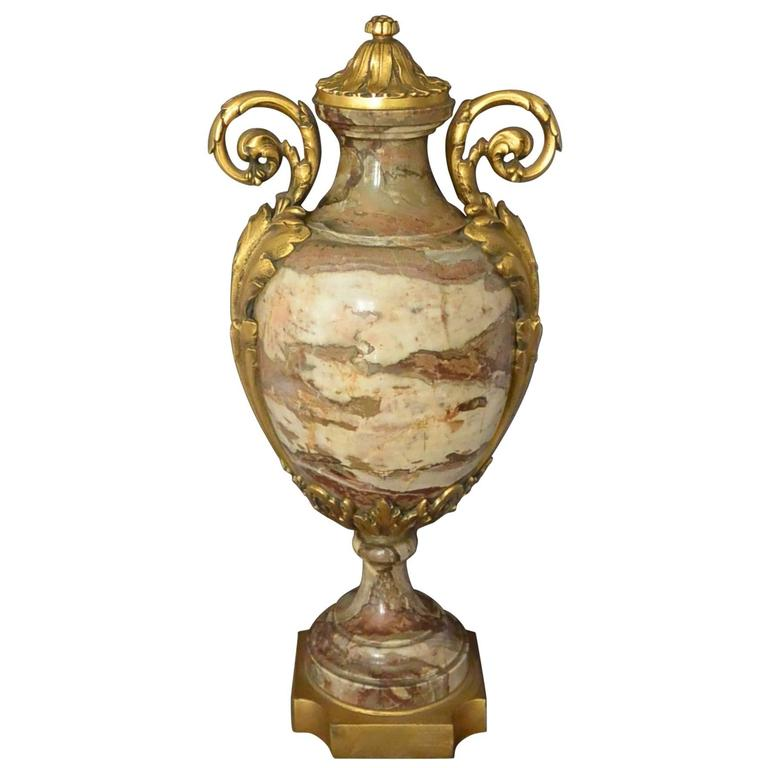 Continental Ormolu-Mounted Marble Urn For Sale