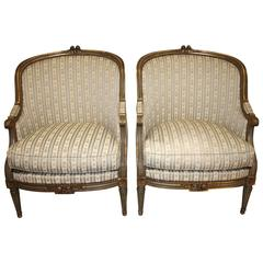 Mid-19th Century French Pair of Bergere Chairs