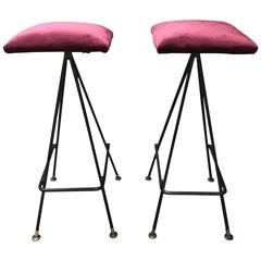 Extremely Rare and Early Handmade Pair of #11 Bar Stools by Adrian Pearsall