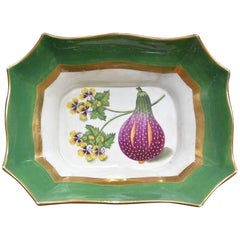Green, Purple and Gilt Painted Serving Dish