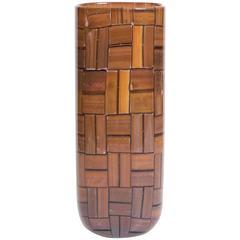 "Barovier and Toso Amber Murano Glass ""Tessere Ambra"" Vase, 1950s"
