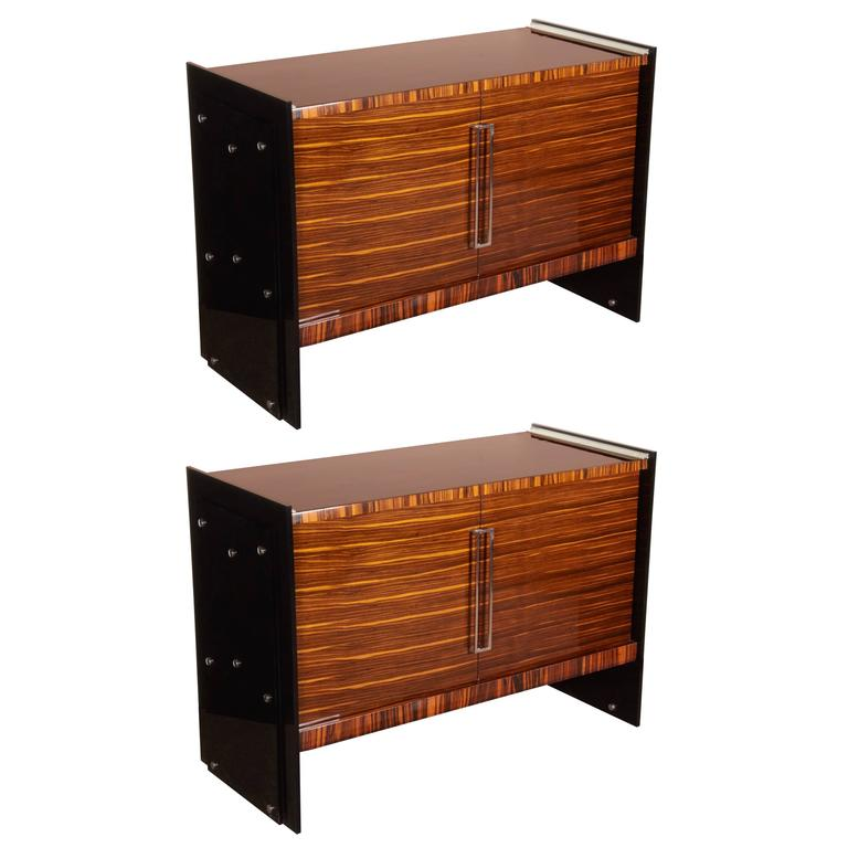 Pair of French Macassar Ebony and Black Plexi Cabinets