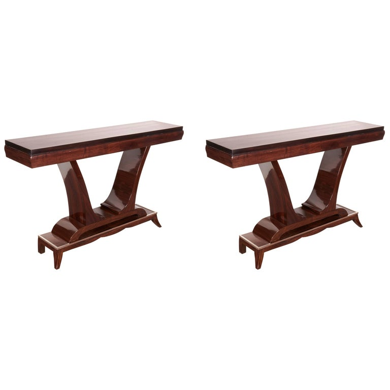 Pair of French Art Deco Elegant Rosewood Consoles with Nickeled Trim For Sale