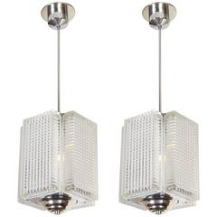 Pair of Mid-Century Austrian Reticulated Glass Lanterns with Nickelled Trim