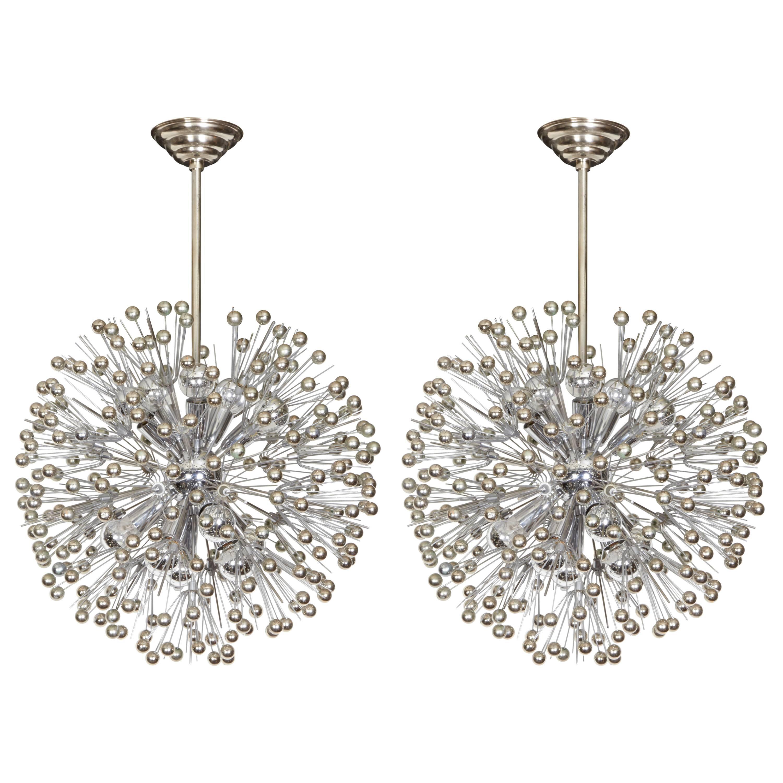 Pair of Mid-Century Sputnik Snowflake Chandeliers in Nickel