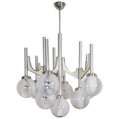 Large Mid-Century Italian Hand Blown Ten-Light Chandelier, Fonderal
